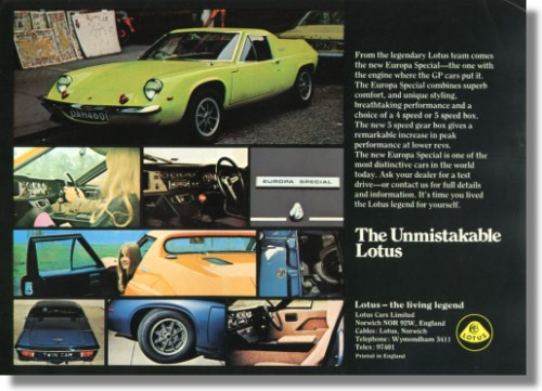 1973 Lotus Europa Sales Sheet