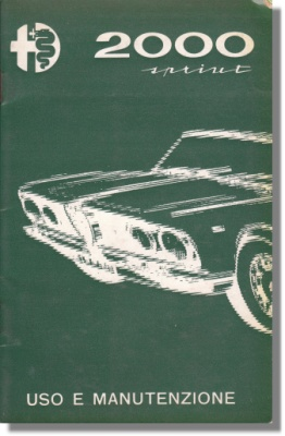 1961 Alfa Romeo Sprint 2000 Owners Manual