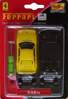 Maisto Ferrari 348 TS Yellow Scale 1/64th Diecast Model Assembly Kit
